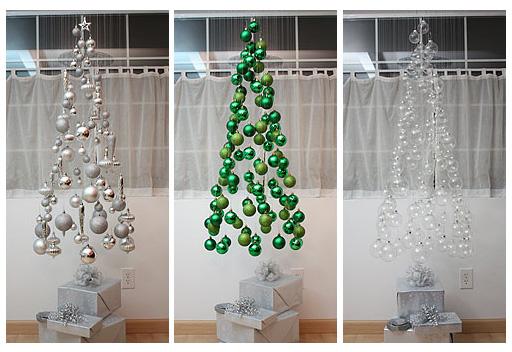 Joulukuusimobile eri värisillä palloilla