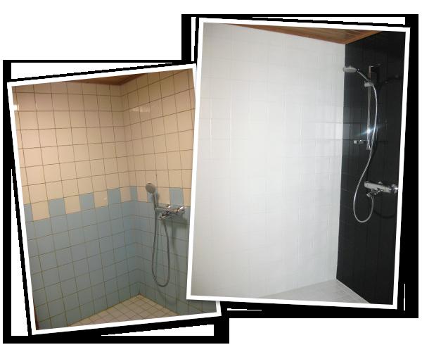 Kylpyhuoneen seinien ja lattian pinnoitus